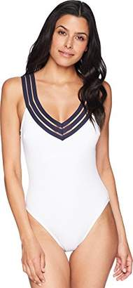 Kenneth Cole New York Women's Wide Band V-Neck Cross Back One Piece Swimsuit