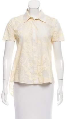 Thakoon Paisley Print Short Sleeve Button-Up