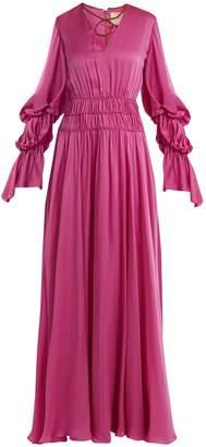 Ansari gathered rope-detail silk gown