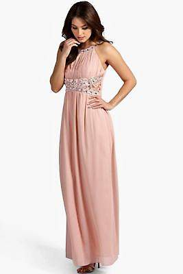 boohoo NEW Womens Embellished Lace Detail Chiffon Maxi Dress in Polyester