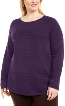 Karen Scott Plus Size Cotton Textured-Stripe Sweater, Created for Macy's