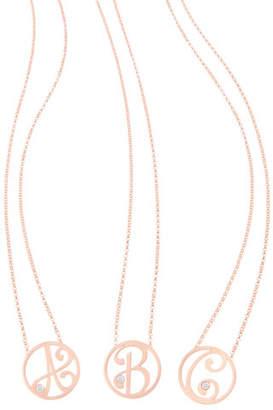 "K Kane Mini Single Initial Diamond Necklace Gold, 18"""