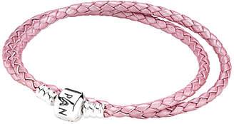 Pandora Pink Braided Double-Leather Charm Bracelet