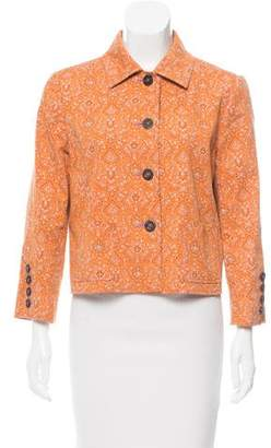 Oscar de la Renta Paisley Print Long Sleeve Jacket