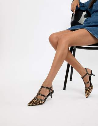 Dune Cristyn Faux Leopard Studded Kitten Heeled Shoes