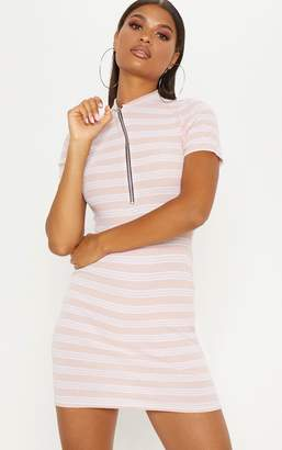PrettyLittleThing Pink Striped Knitted High Neck Rib Dress