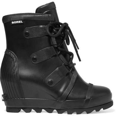 Sorel - Joan Rain Waterproof Rubber Wedge Boots - Black