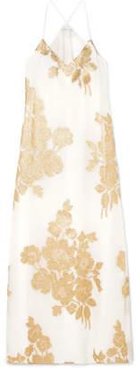 Marie France Van Damme - Metallic Floral Silk-blend Jacquard Maxi Dress - White