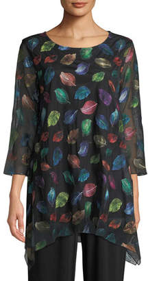 Caroline Rose Falling Leaves Embroidered Tunic, Plus Size