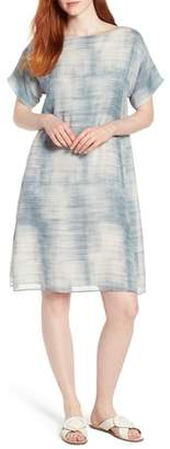 Eileen Fisher Bateau Neck Silk Shift Dress