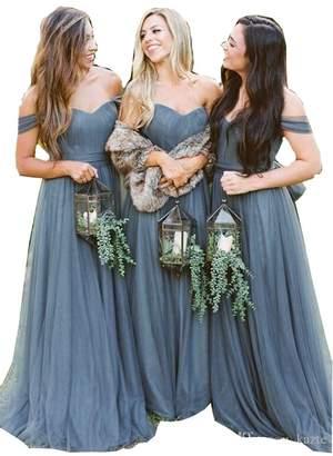 a1c7e0a743b Fanciest Women s Off The Shoulder Tulle Long Bridesmaid Dresses018 Wedding  Party Dress US