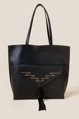 Sallie Front Pocket Tote - Black