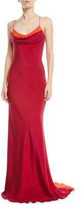 CUSHNIE Colorblocked Strappy Silk-Crepe Column Gown