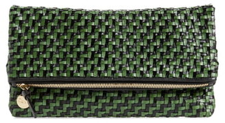 Clare Vivier Woven Leather Foldover Clutch