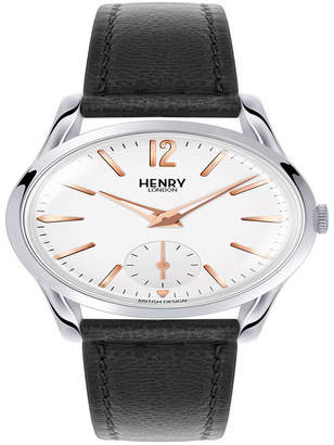 Henry London Highgate Ladies 30mm Black Leather Strap Watch with Stainless Steel Silver Casing