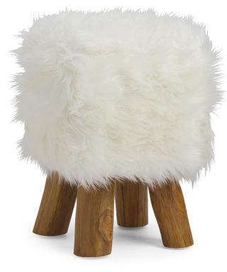 Faux Fur Stool With Wood Legs