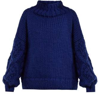 I Love Mr Mittens - Cable Knit Sleeve Wool Sweater - Womens - Dark Blue