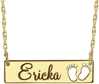 FINE JEWELRY Personalized Baby Name Footprint Bar Necklace