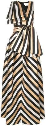Sachin + Babi striped asymmetric gown