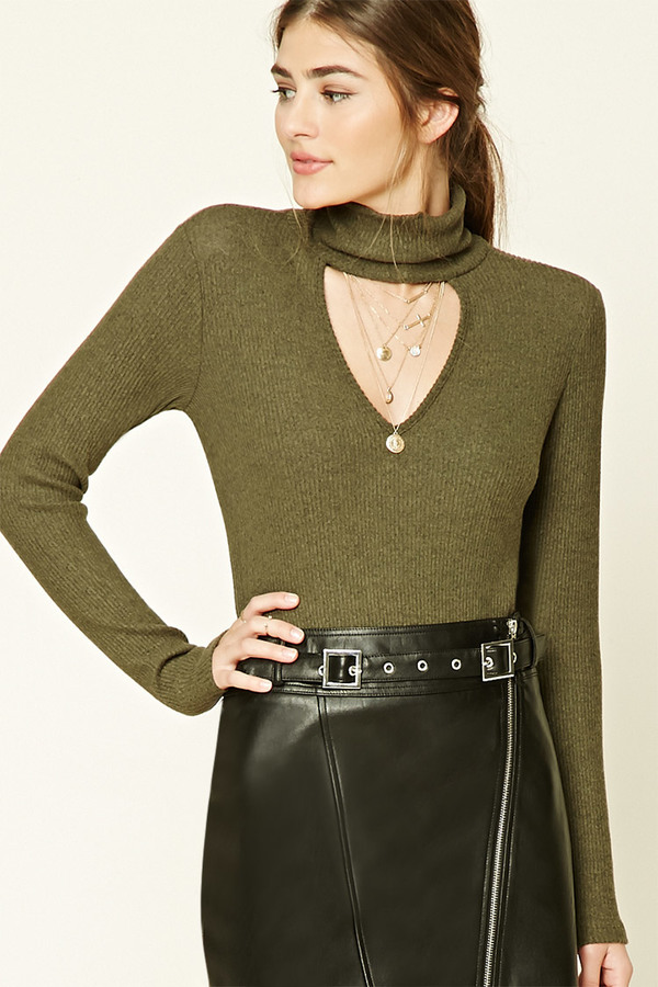 FOREVER 21+ Marled Cutout-Front Top