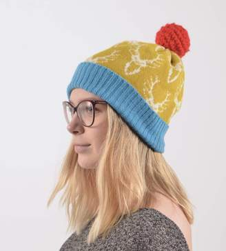 d510a00b84358 Nervous Stitch Bright Lambswool Knitted Stag Bobble Hat