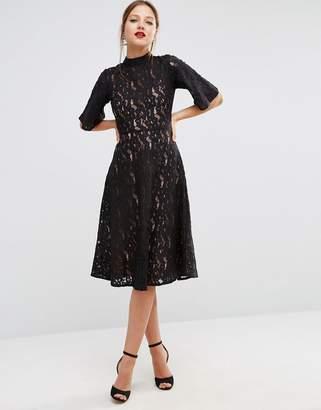 ASOS Kimono Sleeve Midi Skater Dress in Lace $83 thestylecure.com