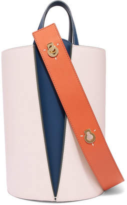 Lente Danse Lorna Mini Color-block Leather Bucket Bag - Blush