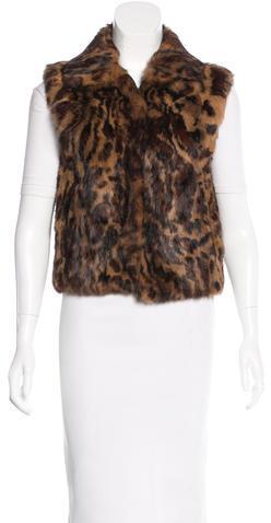 Adrienne LandauAdrienne Landau Leopard Print Fur Vest