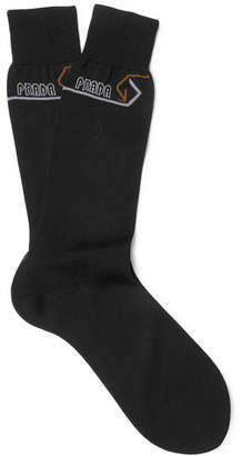 Prada Logo-Intarsia Cotton Socks