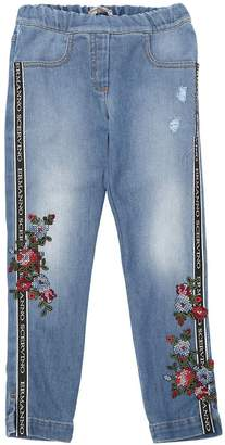 Ermanno Scervino Stretch Denim Effect Cotton Sweatpants