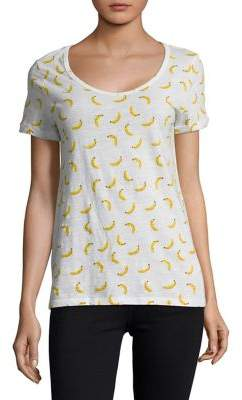 Lord & Taylor Banana-Print Cotton Slub V-neck Roll Sleeve Tee