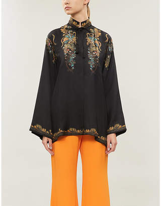 Etro Funnel-neck embroidered silk-blend blouse