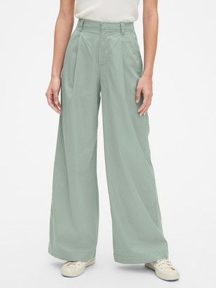 Gap High Rise Pleated Wide Leg Chino Pants