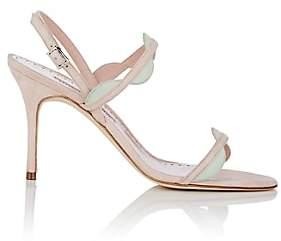 Manolo Blahnik Women's Katana Suede Sandals - Pink Suede