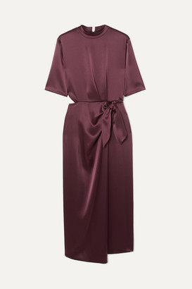 Nanushka - Saffron Cutout Satin Midi Dress - Burgundy
