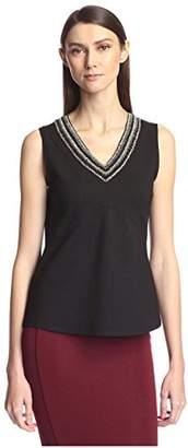 Society New York Women's Sleeveless Beaded V-Neck Top