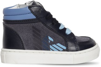Emporio Armani LEATHER & CANVAS HIGH TOP SNEAKERS