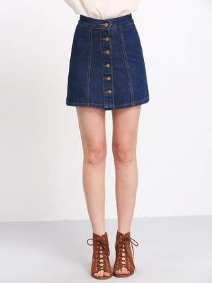 Shein A Line Denim Skirt With Buttons