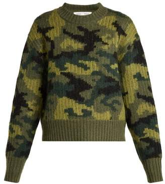 Proenza Schouler Pswl - Camouflage Cropped Wool Blend Sweater - Womens - Camouflage