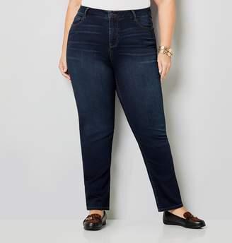 Avenue Plus Size 5 Pocket Straight Leg Knit Denim In Rinse