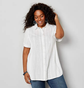 Avenue Plus Size Knit To Fit Embroidered Short Sleeve Shirt