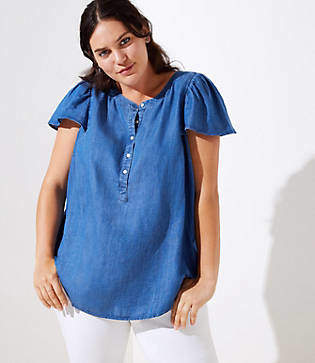 LOFT Plus Chambray Flutter Henley Top