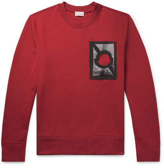 Craig Green Moncler Genius - 5 Moncler Appliqued Cotton-Blend Jersey Sweatshirt - Claret