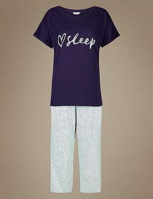 Marks and Spencer Printed Cropped Pyjama Set
