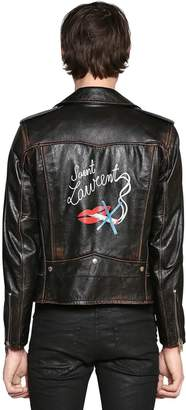 Saint Laurent No Smoking Print Vintage Leather Jacket