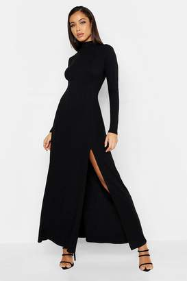3f54a2b81bd11 boohoo Rib High Neck Long Sleeve Split Maxi Dress