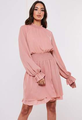 Missguided Blush Shirred Waist High Neck Smock Dress