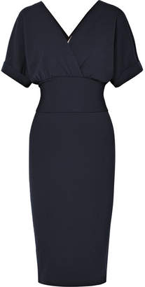 Brunello Cucinelli Wrap-effect Stretch-wool Dress - Navy
