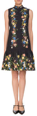 Erdem Nena Band-Collar Sleeveless A-Line Floral-Jacquard Dress