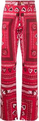 Bandana print wide-leg trousers